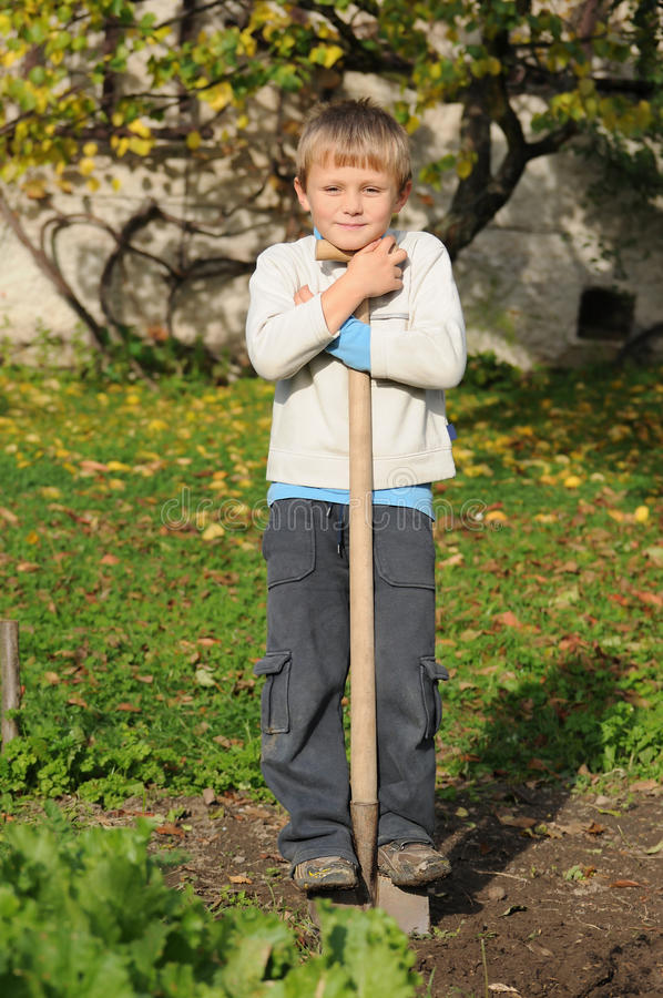 Download Child working in garden stock image. Image of skillful - 27347399