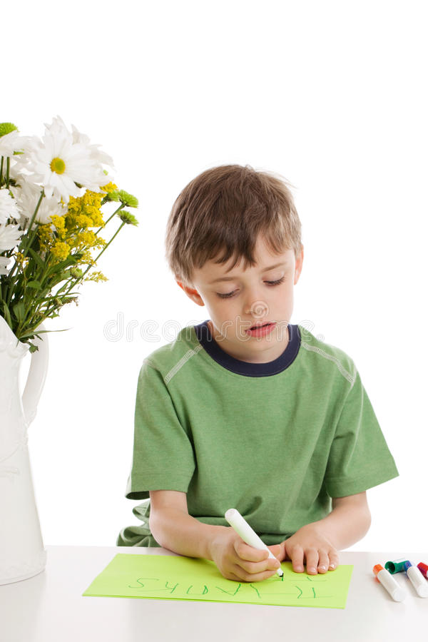 Download Child Writing Thank You Note Stock Image - Image: 22450617