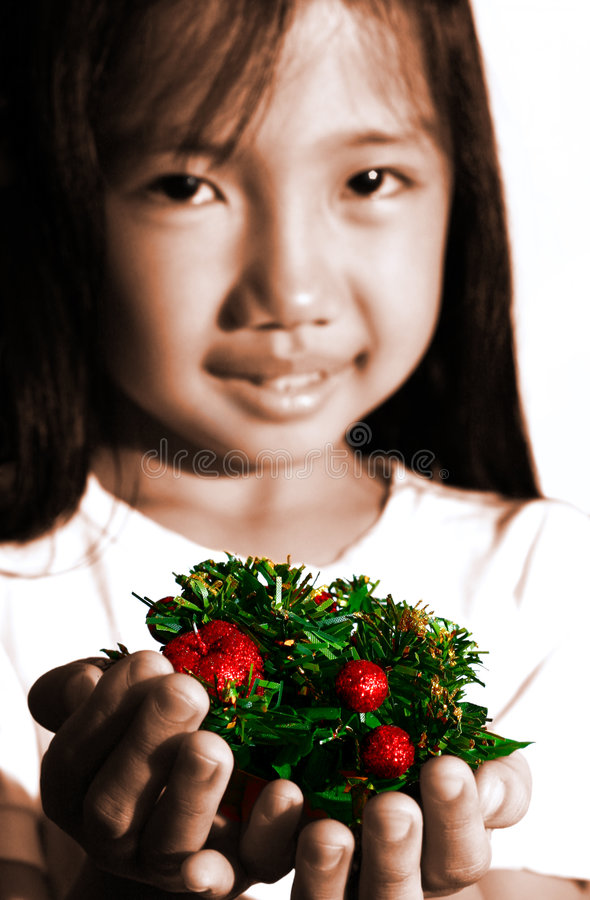 Child With Xmas Decors Royalty Free Stock Photo