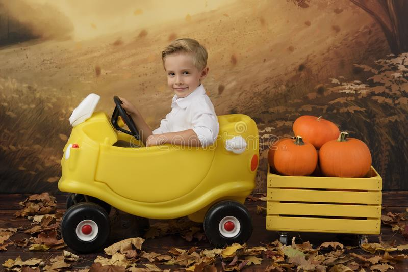 Child in a yellow car and a box with pumpkins. Autumn harvest. stock image