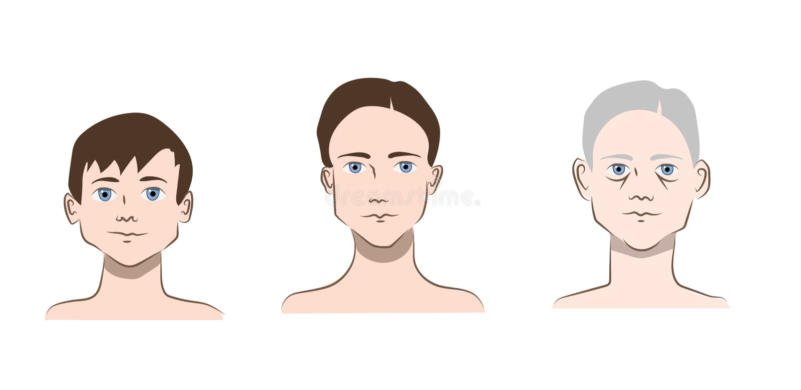 Child, young, and old man face vector illustration