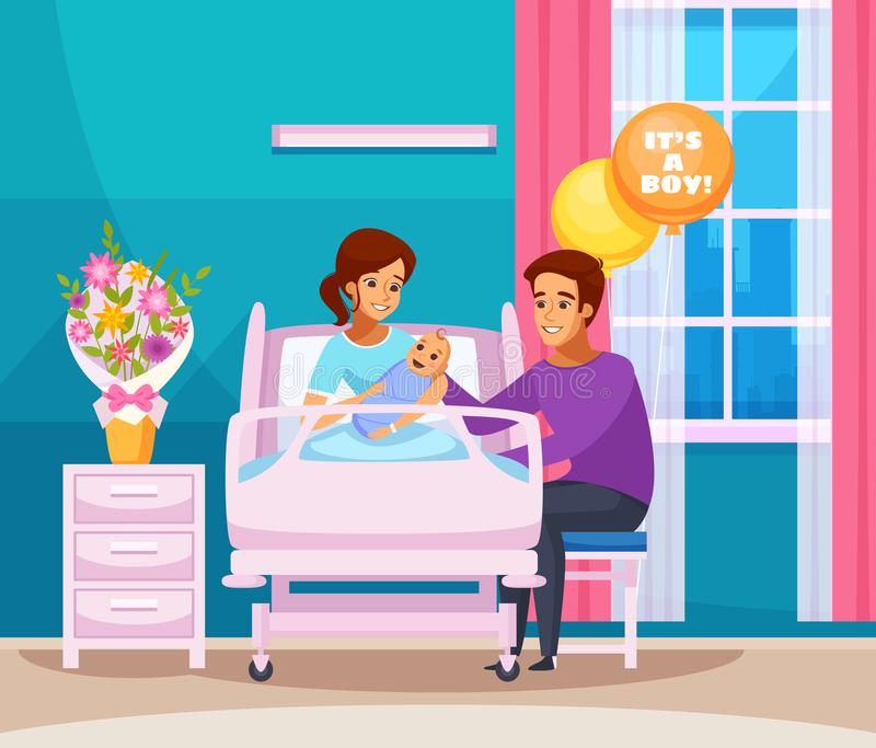 Childbirth Cartoon Composition. With happy family with newborn boy in chamber of maternity hospital vector illustration vector illustration