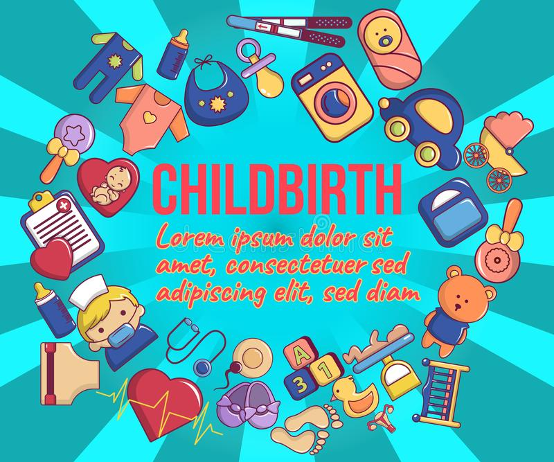 Childbirth concept banner, cartoon style. Childbirth concept banner. Cartoon banner of childbirth vector concept for web, giftcard and postcard royalty free illustration