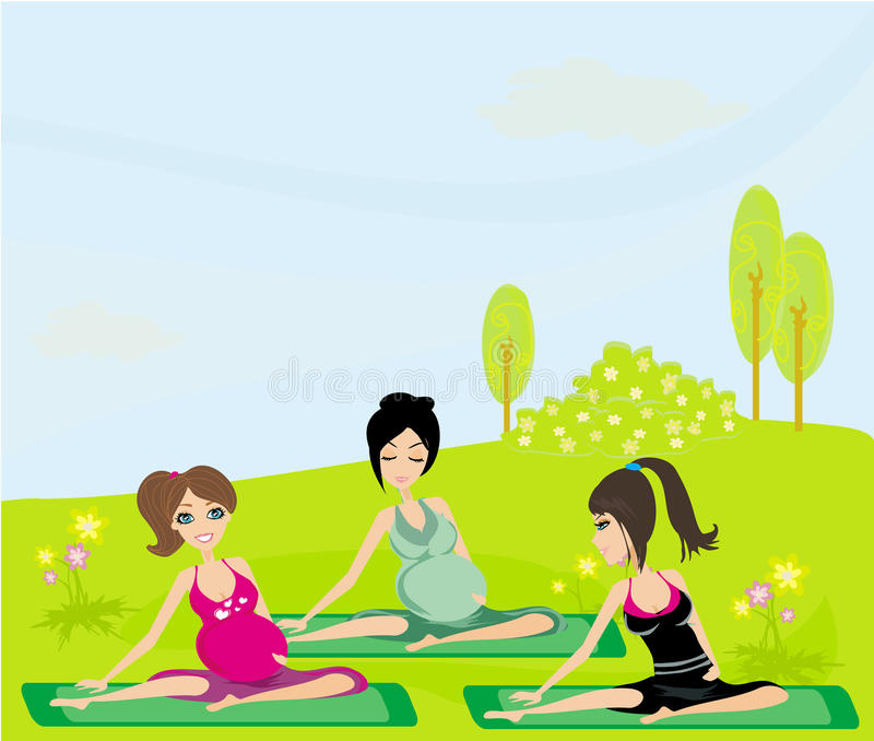 Childbirth education classes outdoors stock illustration