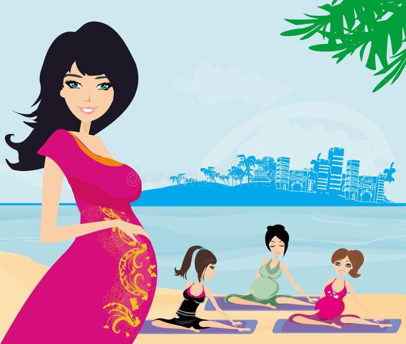 Childbirth education classes outdoors. Illustration vector illustration