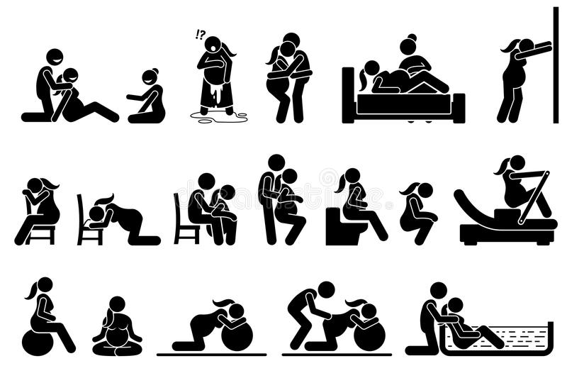 Childbirth labor positions and postures at home. stock illustration