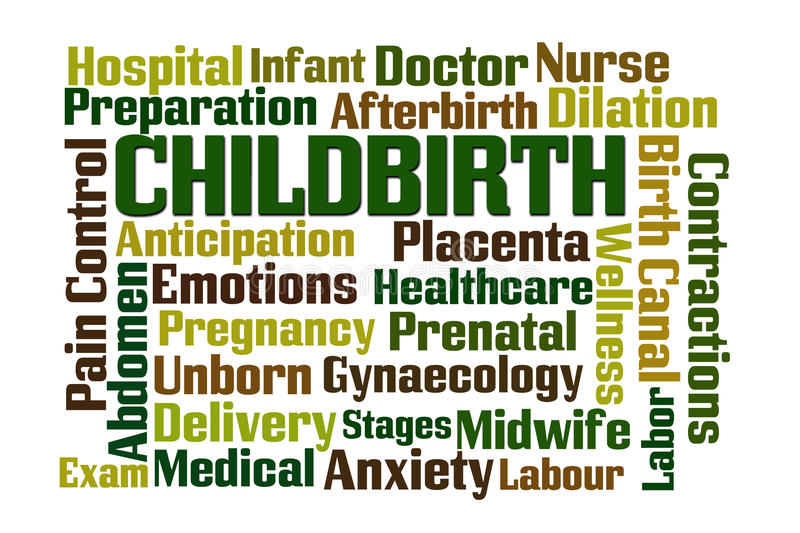 Childbirth. Word cloud on white background vector illustration