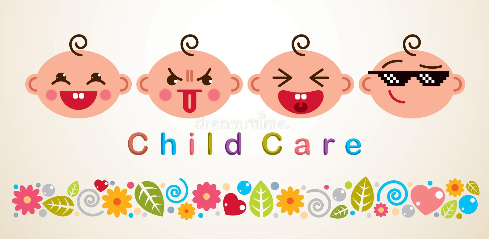 Childcare vector illustration with babies showing different emotions, vector flat style design. vector illustration