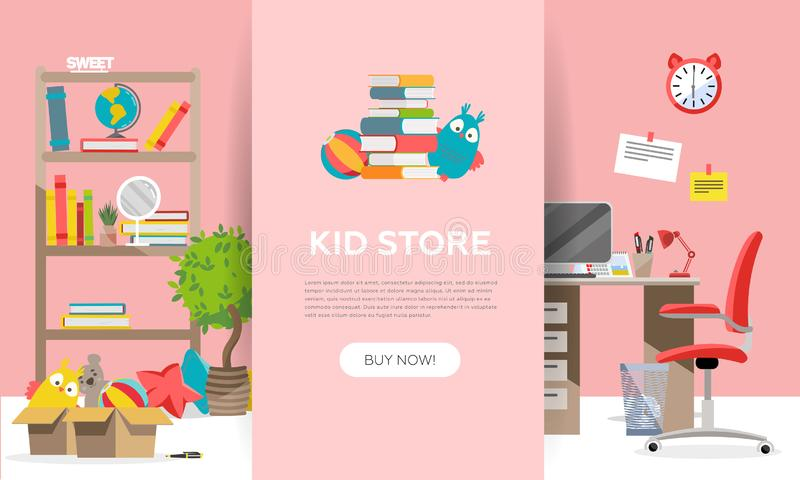 Childen`s goods shop landing page in flat cartoon style. Kids game teddy bear,interior items and school supplies. Children fun vector illustration