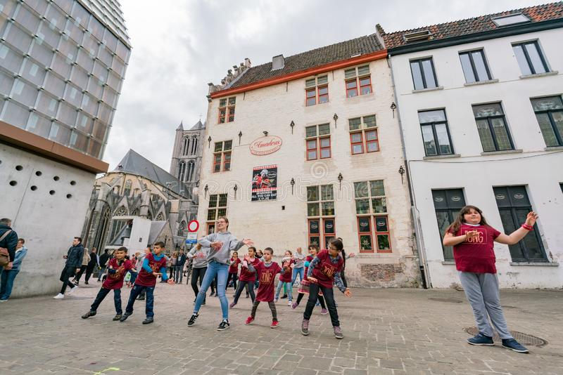 Childern dancing in the Japanese cluture event at the Ghent Mark royalty free stock photo