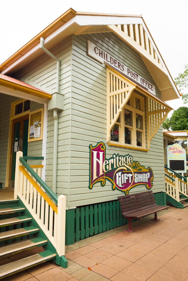 Childerspostkantoor en de Winkel van de Erfenisgift in Queensland, Australië stock fotografie