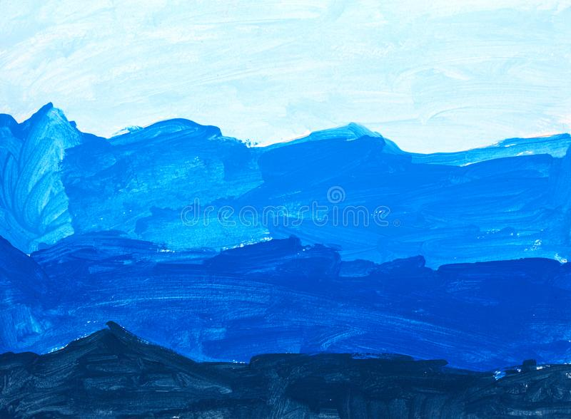 Childhood Blue Wave Abstract Acrylic Painting stock images