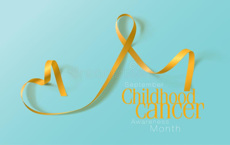 Childhood Cancer Awareness Calligraphy Poster Design. Realistic Gold Ribbon. September is Cancer Awareness Month. Vector. Illustration vector illustration