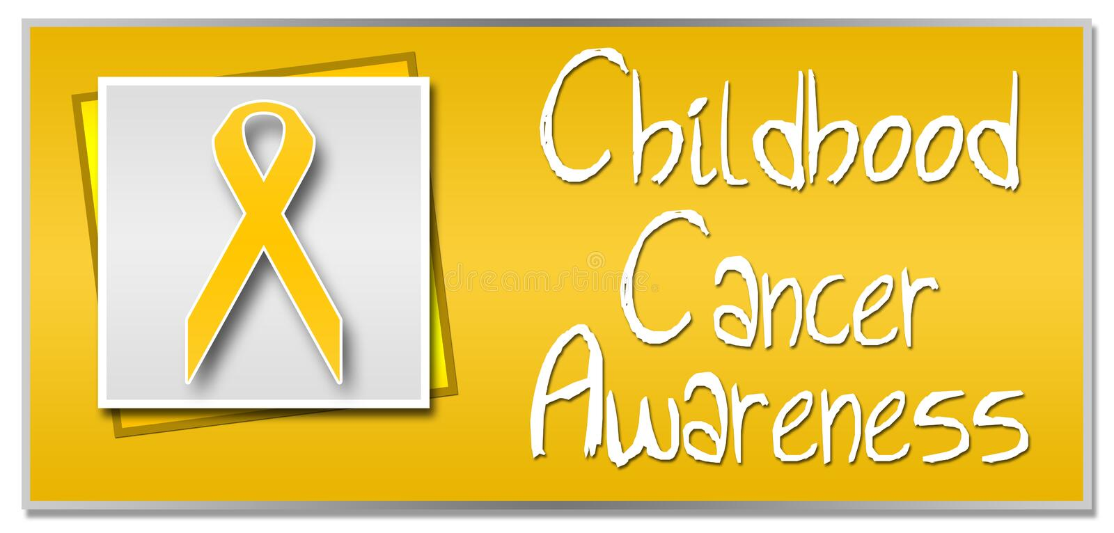 Childhood Cancer Awareness. Conceptual image for childhood cancer awareness with golden ribbon stock illustration