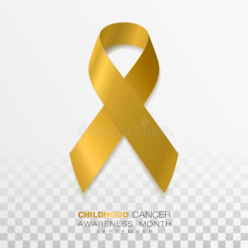 Childhood Cancer Awareness Month. Gold Color Ribbon Isolated On Transparent Background. Vector Design Template For. Poster. Illustration vector illustration