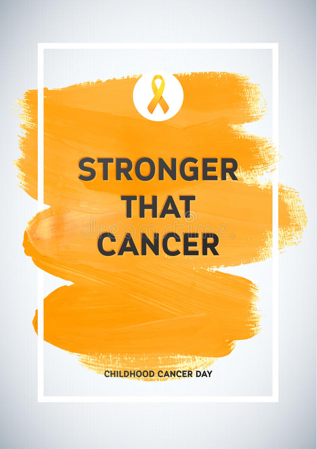 Childhood Cancer Awareness Poster. Yellow Brush Strokes and Frame Illustrate the Problem. Childhood cancer awareness symbol.  stock illustration