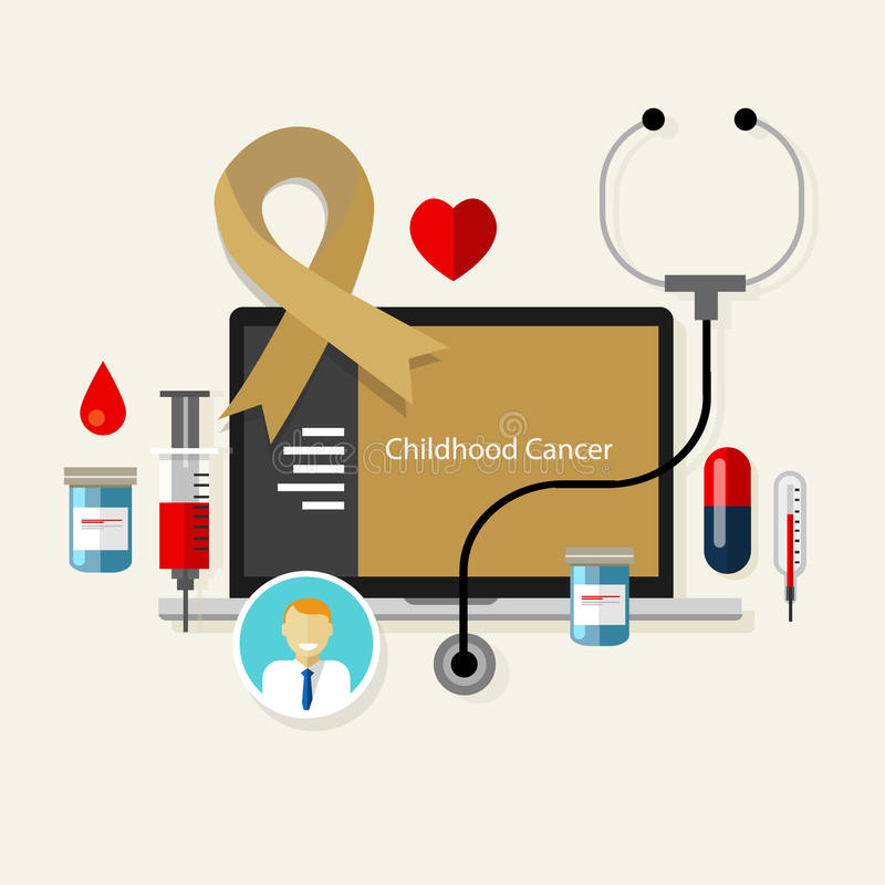 Childhood cancer children medical gold ribbon treatment health disease stock illustration