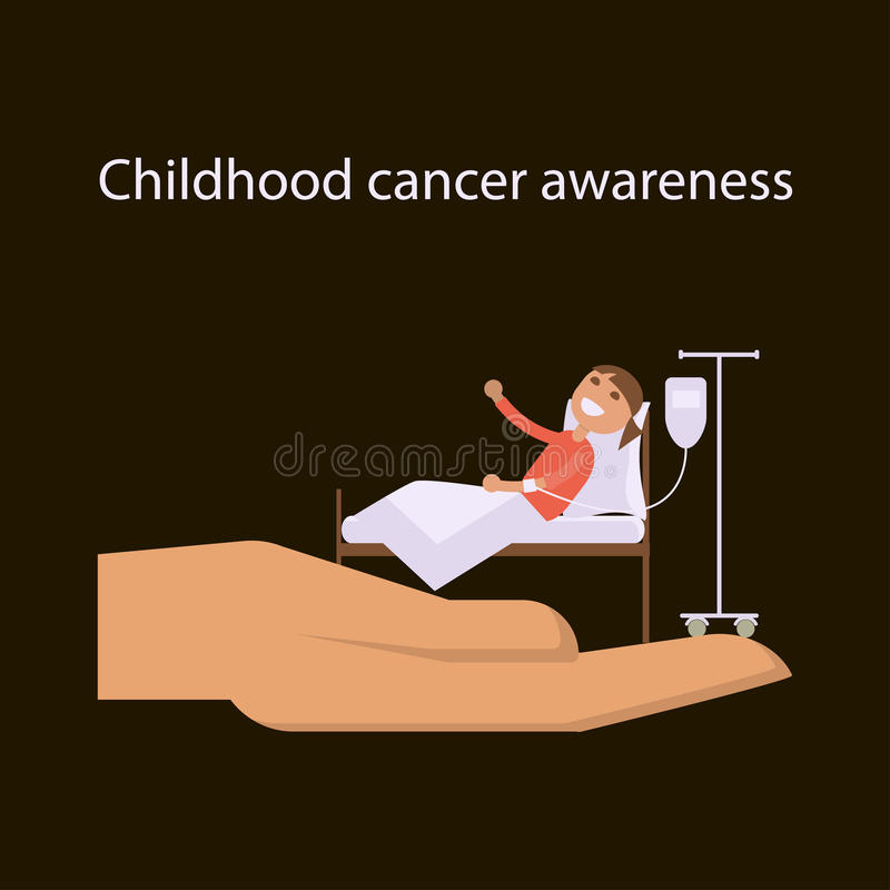 Childhood cancer day. International Childhood cancer day banner. The hand symbolizes help and support to sick children. Child oncology disease concept in vector vector illustration