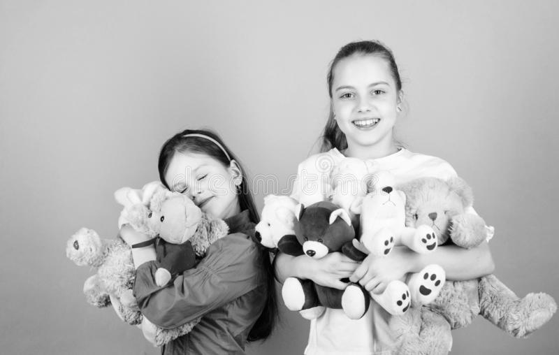 Childhood concept. Softness and tenderness. Laundry softener. Love and friendship. Kids adorable cute girls play soft. Toys. Happy childhood. Child care royalty free stock photography