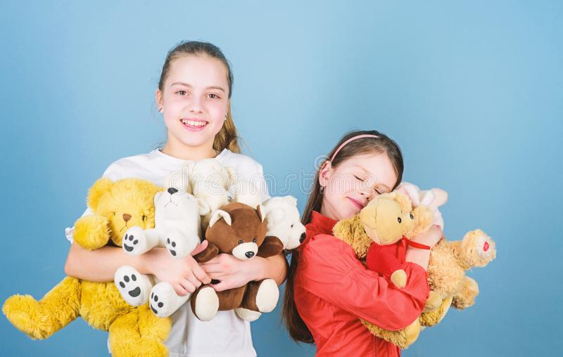 Childhood concept. Softness and tenderness. Laundry softener. Love and friendship. Kids adorable cute girls play soft royalty free stock image