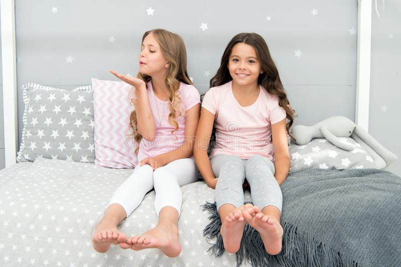 Childhood friendship concept. Girls best friends sleepover domestic party. Girlish leisure. Sleepover time for fun stock photography