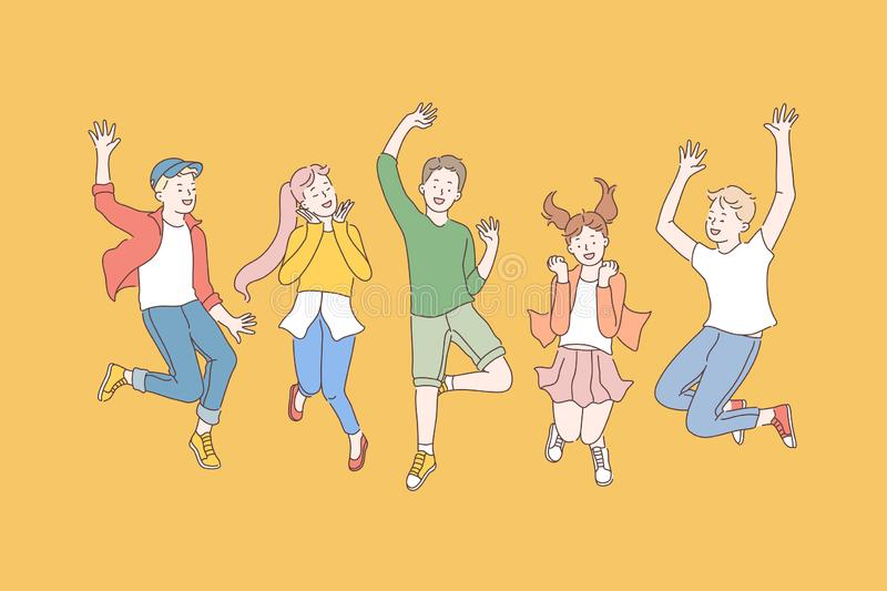 Childhood, friendship, party concept stock image