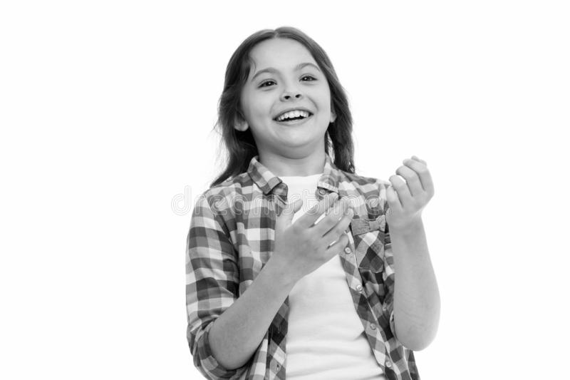 Childhood and happiness concept. Kid with cheerful face and brilliant smile isolated on white. Emotions concept. Sincere. Emotional child. Girl laugh emotional stock image
