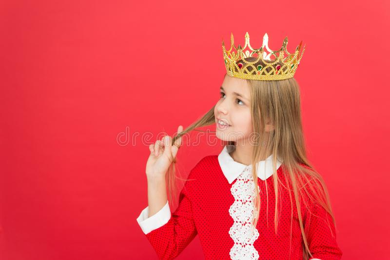 Childhood happiness. family and love. childrens day. Good parenting. Child care. small girl child. School. happy little. Girl on red background. littlle miss in royalty free stock photography