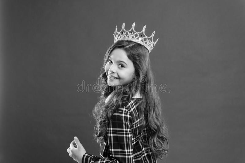Childhood happiness. Happy little girl. Beauty and fashion. small girl child with perfect hair. small kid fashion. International childrens day. best girl royalty free stock photo