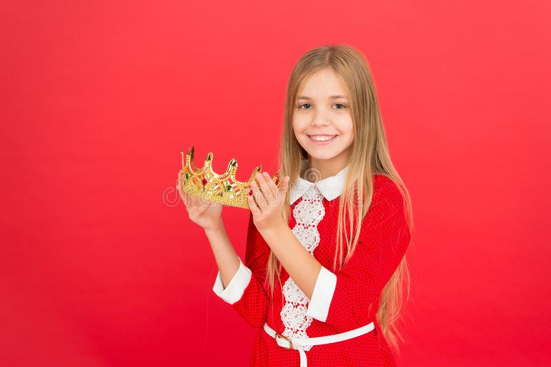 Childhood happiness. small girl child. School education. family and love. childrens day. Good parenting. Child care. Happy little girl on red background royalty free stock photo