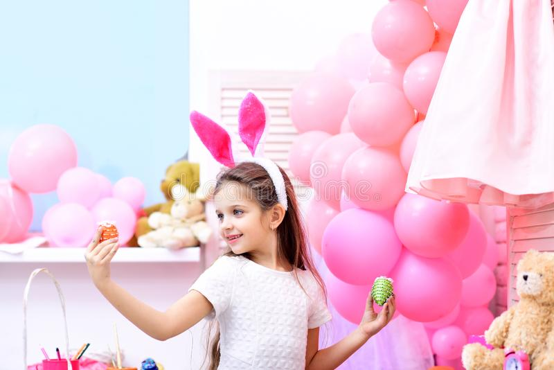 Childhood, happy easter, family, spring holiday. Happy childhood and art concept stock photography