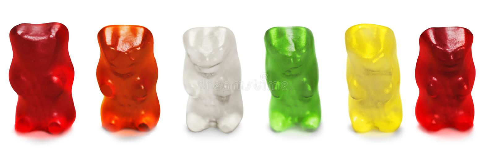 Childhood and jelly bears candies isolated on stock photography