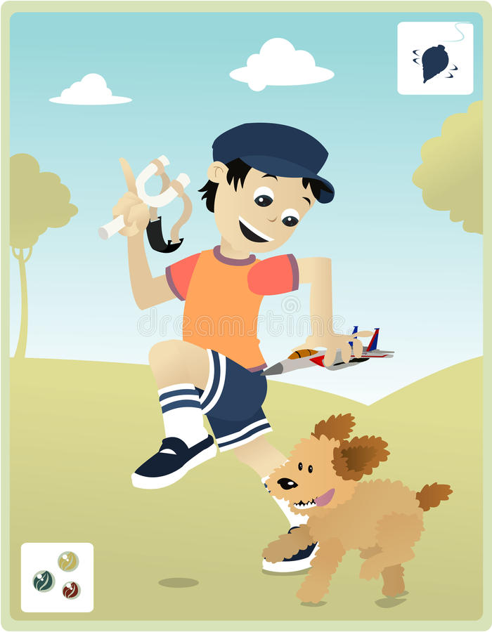 Download Childhood with my dog stock vector. Illustration of entertainment - 10887334
