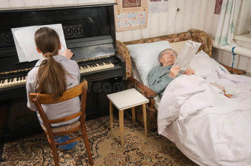 Download The childhood and old age. stock photo. Image of room - 13054616