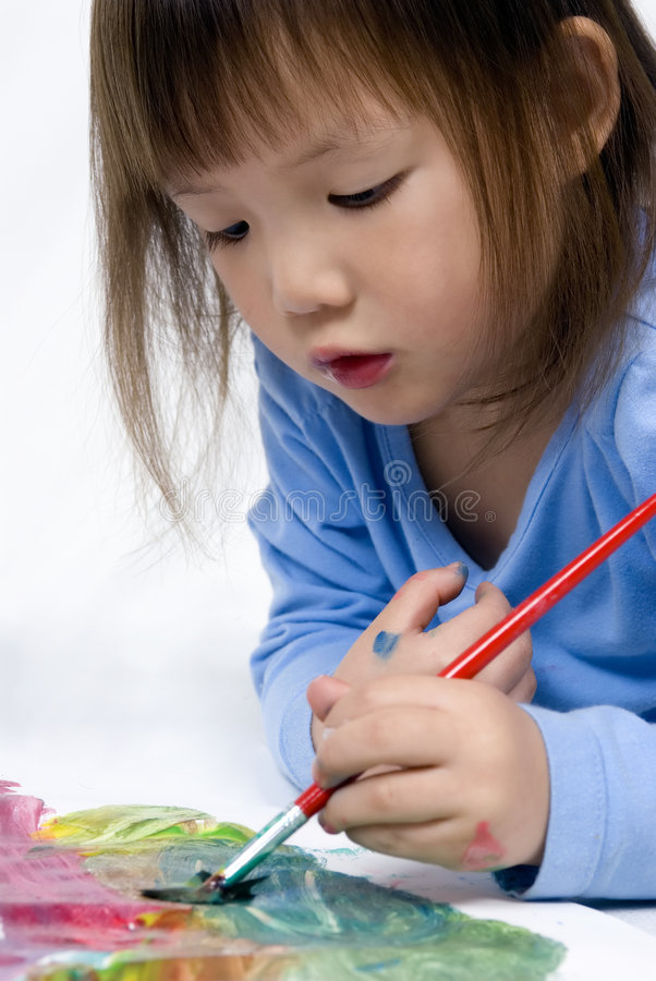 Childhood Painting Series (on the floor) stock image
