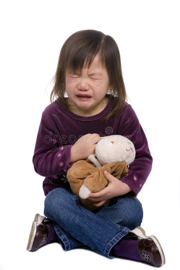 Download Childhood Series 7 (crying With Bunny 2) Stock Image - Image: 1877403