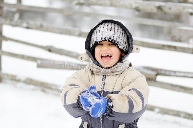Download Childhood on snow stock photo. Image of snow, child, little - 12992212