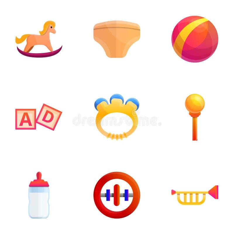 Childhood toys icon set, cartoon style. Childhood toys icon set. Cartoon set of 9 childhood toys vector icons for web design isolated on white background vector illustration