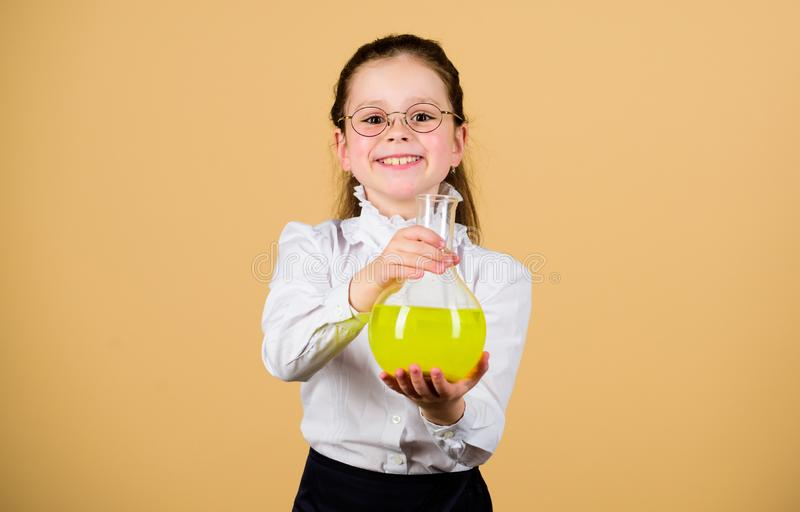 Childhood and upbringing. Knowledge and information. Small kid study. School life. Education concept. Basic knowledge. Back to school. Knowledge day. Serious stock photo