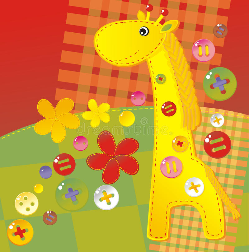 Childish applique - giraffe. Color handiwork childish applique - giraffe stock illustration