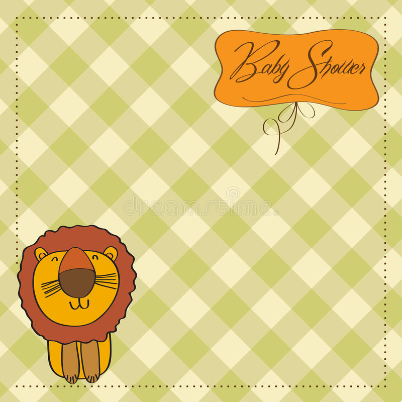 Download Childish Baby Shower Card With  Lion Stock Illustration - Illustration: 24486335
