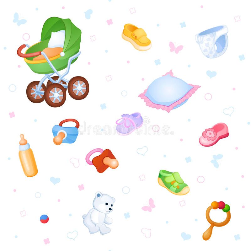 Childish background. Background of things and toys for the little baby royalty free illustration