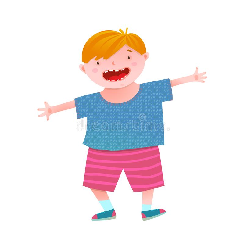 Fun Smiling Little Boy Red Head Kid. Childish boy mascot funny and cheerful vivid colors. Vector illustration stock illustration