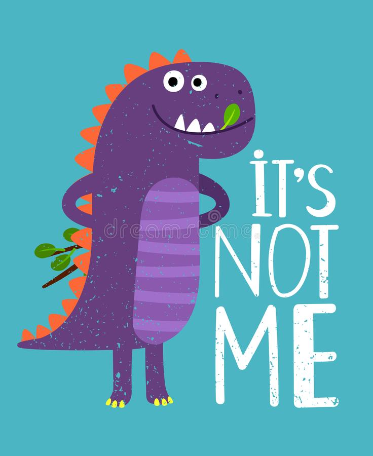Childish card with print dinosaur. Vector illustration. Childish card with print dinosaur. Toy dino for print t-shirt. Vector illustration stock illustration