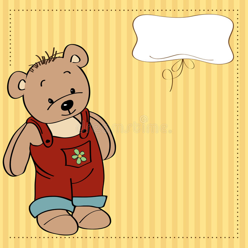 Free Childish Card With Funny Teddy Bear Royalty Free Stock Photo - 25061005