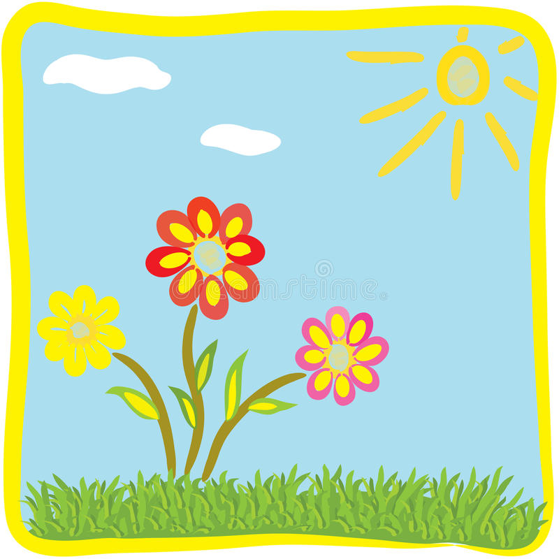 Childish Cartoon Floral Greeting Card Royalty Free Stock Images