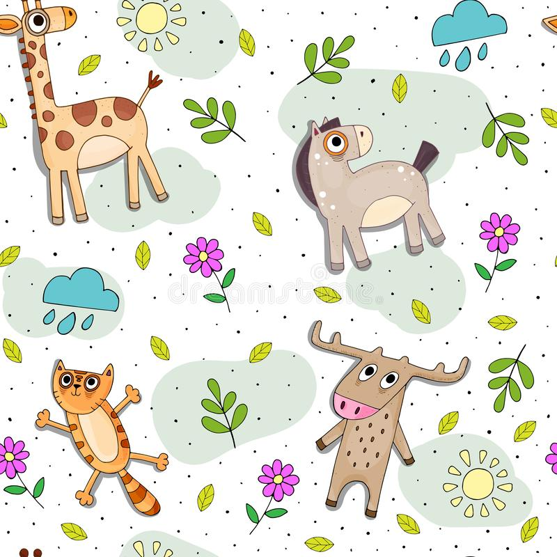 Childish cartoon vector seamless pattern with cute color animals and decorative elements. vector illustration