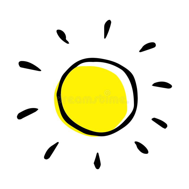 Childish colorful hand drawing of a sun in vector. stock photography