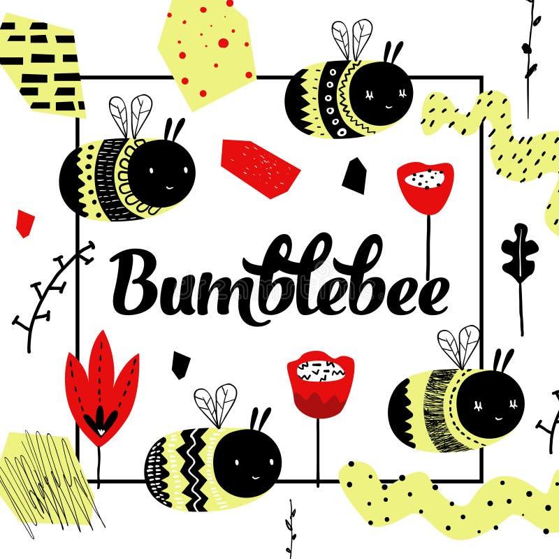 Childish Design with Cute Bee. Children Background stock illustration