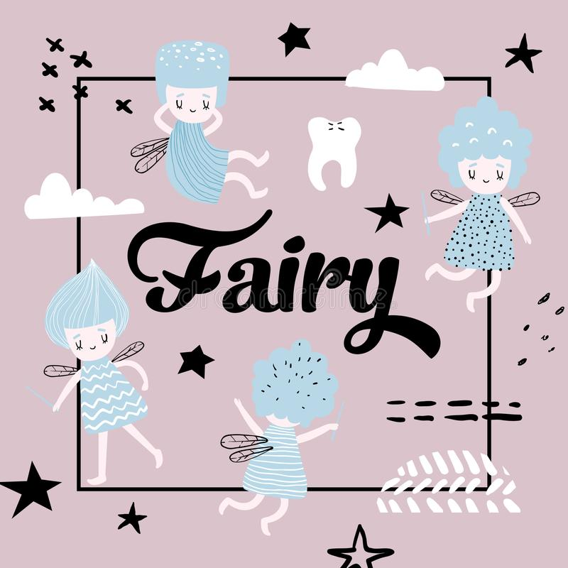 Childish Design with Cute Fairy royalty free illustration